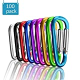 UPINS 100Pcs Multicolor Aluminum Locking Carabiner Spring Clips Hook Keychain D Shape Buckle Pack
