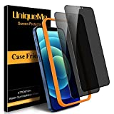 [2 Pack] UniqueMe Privacy Screen Protector Compatible with iPhone 12/12 Pro 6.1' Tempered Glass, Anti Spy [Easy Installation Frame] 9H Hardness High Definition Bubble Free
