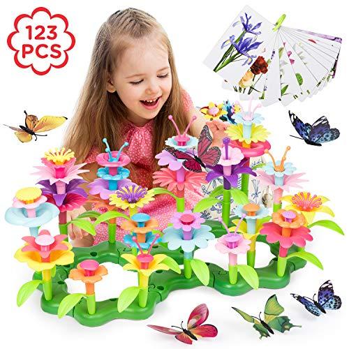 Joyjoz Blumengarten Spielzeug für Mädchen – Garten Spielzeug & Blumen Geschenk für Kinder, DIY Set Lehrnpielzeug für Mädchen & Kleinkinder. Schmetterlinge, Flash-Karten, Transporttasche (123 Teile)