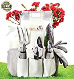 Barn Owl Stainless Steel Garden Tools 9 Piece Gardening Tools I Tools Sets with Heavy Duty Shear Non Slip Handle and Storage Tote Bag - Garden Gift for Gardeners T Shirt (Cotton, Large)