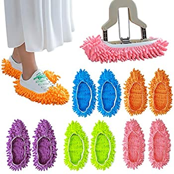 10pcs Mop Slipper Shoes Cover Soft Washable Microfiber Shoes Cover Reusable Foot Socks for Floor Polishing Sweeping Mop Tool for Bathroom Office Kitchen House Cleaning