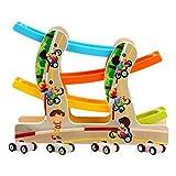 Dirgee Holzblock Pädagogisches Spielzeug Mini-Auto-Parkplatz Rennstrecke Kinderwagen Rampe Rennspielzeug mit 4 Mini-Autos (Farbe: Mehrfarbig, Größe: Freie Größe)