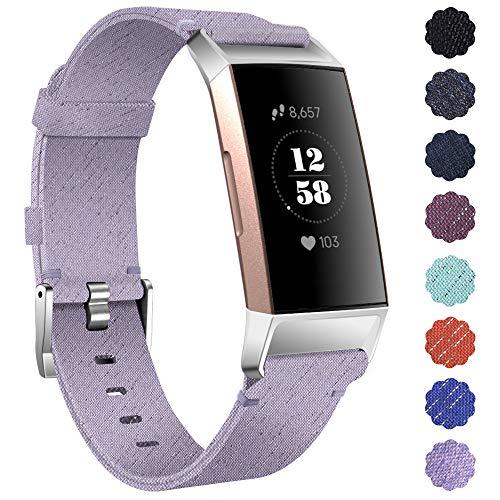 KIMILAR Pulseras Compatible con Fitbit Charge 4 / Charge 3 Correa Tejid, Correa de Recambio Nylon Reemplazo de Banda de la Muñeca Pulseras para Charge 4/Charge 3/SE, Violeta Claro