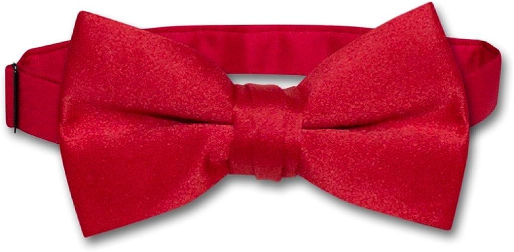 Vesuvio Napoli BOY'S BOWTIE Solid RED Color Youth Bow Tie