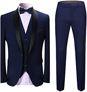 Sliktaa Mens Tuxedo Suits 3 Pieces Dinner Suit Wedding Formal Notched Lapel Blazer &Trousers& Waistcoat
