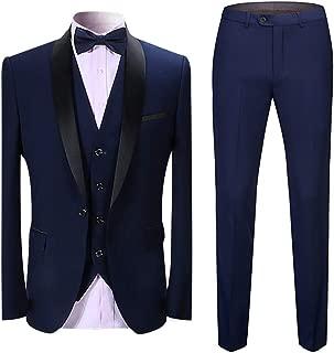 Boyland Men's 3 Pieces Suit Shawl Lapel Tuxedo Suits Shawl Lapel One Button Tux Jacket Vest Trousers Dinner Wedding