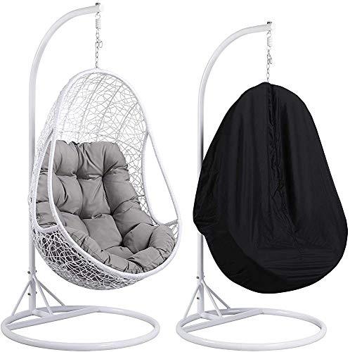 Al aire libre/jardín terraza sillas de ratán columpio que cuelga en interiores tapizados marco muebles,White