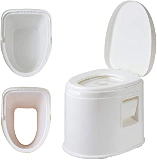 Portable Non-Slip Commode Chair - Commode Chair with 2 Inner Barreles - Deodorant Lightweight Toilet Chair for Pregnant Women Disabled Elderly