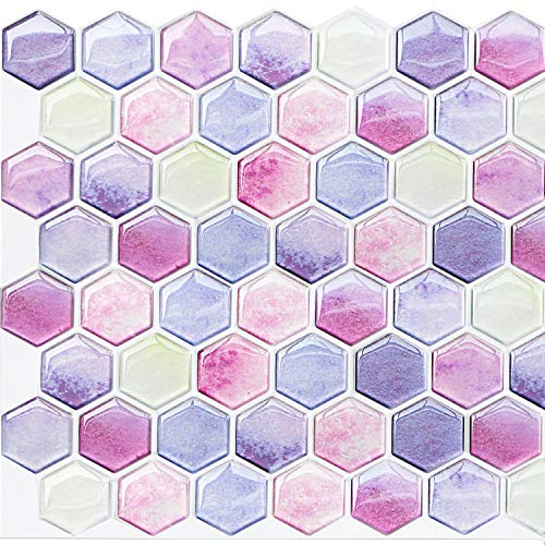 Yoillione 3D Effect Peel and Stick Tile Backsplash for Kitchen and Bathroom, Purple Vinyl Self Adhesive Tiles Square Waterproof 3D Mosaic Wall Tile Sticker