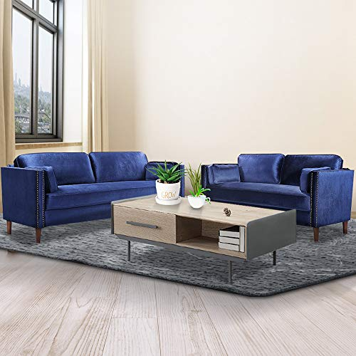 Recaceik 2 Piece Living Room Sofa Set Morden Style Couch Furniture Upholstered Sectional Loveseat for Office, Home (Blue)