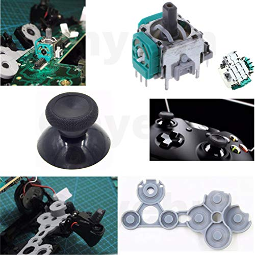 Onyehn 4pcs 3D Analog Joysticks Wireless Thumb Sticks Sensor Replacement Parts for Xbox 1 Controller,with Screwdriver and D Pads Rubber Conductive R L Button Repair Kits