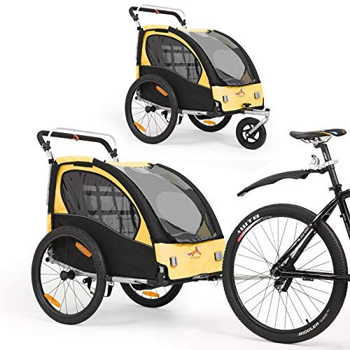 2 in 1 Fahrradanhänger 360 ° drehbarer Kinderwagen Zweisitzer mit Griffbremse und Radschutz Baby-Jogging-Gerät BT502 (Gelb)