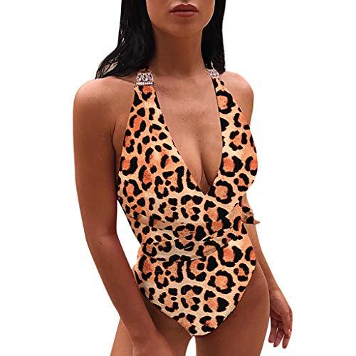 QingJiu Frauen V-Ausschnitt Leopard Bandage Neckholder Einteiliger Bikini + Haarband Push-Up Pad Bademode Badeanzug