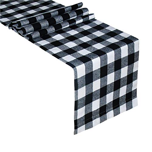 Senneny Buffalo Check Table Runner Cotton Buffalo Plaid Classic Stylish Design for Family Dinner Christmas Holiday Birthday Party Table Home Decoration (Black and White, 14 x 72 Inch)
