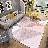 Alfombra barata Alfombras de cabecera para dormitorios Rosa mandarina blanco moderno simple patrón geométrico diseño al aire libre alfombra 80X160cm