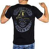 Camiseta de bomberos para hombre, diseño con texto 'Fire Smoke & Rock'N ROLL Dark Edition, ideal como idea de regalo, color negro Negro M