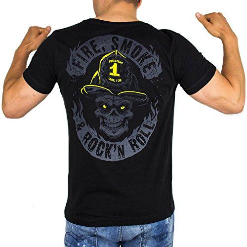 FIRE Smoke & Rock´N ROLL Dark Edition | Feuerwehr T-Shirt Männer als tolle Geschenkidee aus Fein-Jersey Farbe schwarz, Größe:S