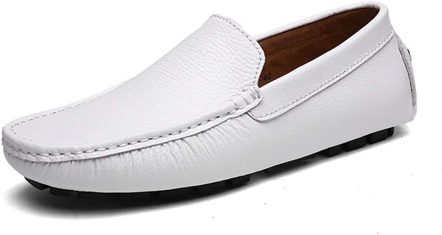 Leather Sets of Feet shoes shoes Men's Casual Peas shoes (color   White, Size   44)