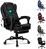 ELFORDSON Massage Executive Office Chair with Footrest PU Leather Home Computer Desk Swivel
