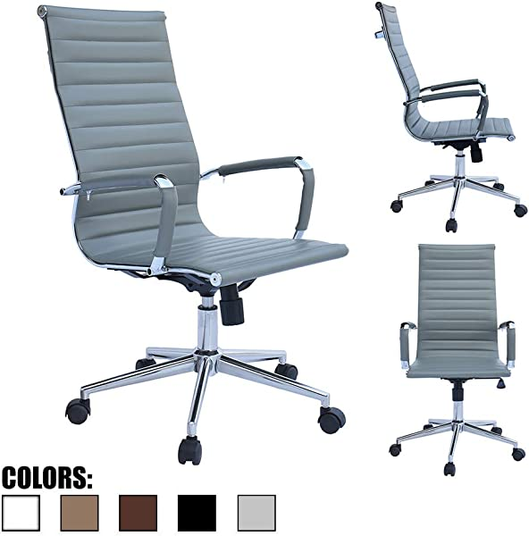 2xhome Gray Office Chair Conference Room Designer Boss PU Leather With Arms Wheels Swivel Tilt Adjustable Manager Mid Century High Back Ribbed Modern Work Task Computer Desk For Tall People Home