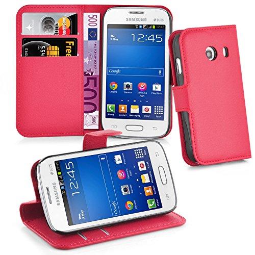Cadorabo Hülle kompatibel mit Samsung Galaxy ACE Stlye Hülle in Karmin ROT Handyhülle mit Kartenfach & Standfunktion Schutzhülle Etui Tasche