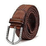 DonDon Cinturón trenzado extensible y elástico para hombres y mujeres de 100 cm a 130 cm de longitud bayo