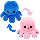 Mehrlieben Octopus Plush Toy,Reversible Moody Octopus,Double-Sided Flip Octopus Plush Doll, Octopus Stuffed Animals Soft Toys,Plush Creative Toy Gifts for Kids Boys Girls Friends (Blue to Pink)