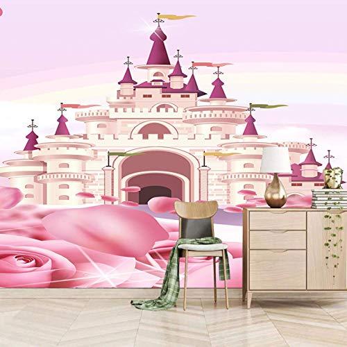 ZEISIX papel pintado habitacion foto en pared empapelar armario/Rosa flores castillo chica/Aplicar para salones niños niñas juvenil habitacion bebe guardería dormitorio matrimonio cabeceros de cama