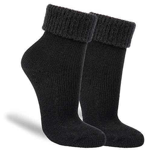 NewwerX 3 Paar Flausch-Söckchen, Baumwoll-Socken für Damen, Kuschelig warm & flauschig (Schwarz, 35-38, numeric_35)