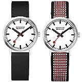 mondaine a658.30323.75set - orologio da uomo con cinturino aggiuntivo, quadrante bianco, 30 mm