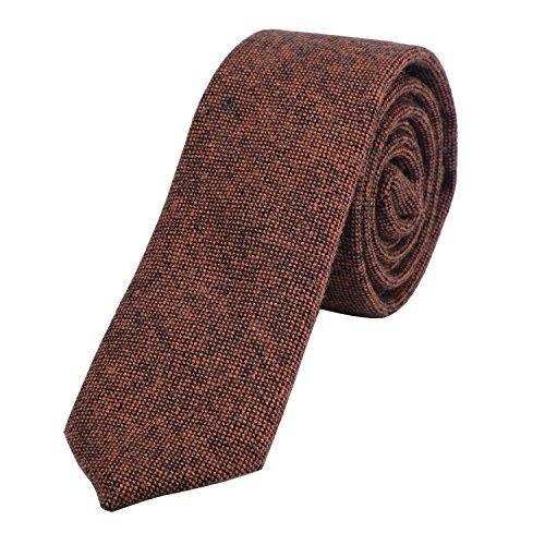 DonDon Herren Krawatte 6 cm Baumwolle orange-schwarz