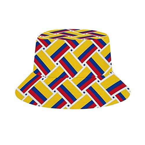 NA - Gorro de pescador unisex con estampado bonito, Hombre, color Tejido de la bandera de Colombia, tamaño talla única