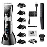 Hatteker Professional Hair Clipper Cordless Clippers Hair Trimmer Beard Shaver Electric Haircut Kit Ceramic Blade Waterproof Rechargeable Battery LED Display for Men and Family Use