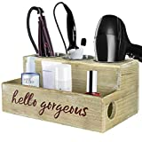 Rustic Wood Hair Dryer Holder, Hair Styling Tool Organizer, Bathroom Vanity Storage Organizer, Bath Supplies Accessories Storage Tray for Blow Dryer Flat Iron Curling Wand Brushes (Rustic Grey)