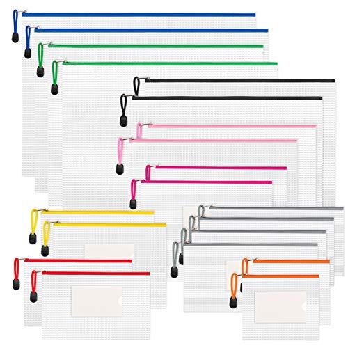 Sooez Plastic Zipper Pouches, 20Pack Clear A3 A4 A5 A6 Size Zipper Mesh Pouch Organization Bag Zipper Document Storage Pouch with Label Pocket Mesh Zipper Bags for School Office Home Travel Storage