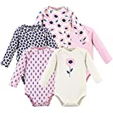Touched by Nature Baby Organic Cotton Long-Sleeve Bodysuits, Blossom, 0-3 Months