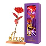 Childom Red Rose, Golden Flower Red Colorful Gold Foil Roses with Love...