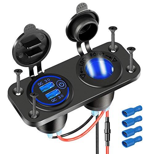 [2021 Upgraded] Cigarette Lighter Socket Outlet Splitter, Quick Charge 3.0 USB Charger Power Outlet with LED, 12V USB outlet Marine Waterproof Power Panel Adapter DIY Kit for Car Boat Marine RV, etc