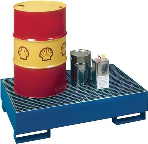 VAR opvangbak van 3 mm plaatstaal, verzinkt, voor 1 stuk 200-l vat, inhoud badkuip 200 l, BxDxH 800x800x455 mm