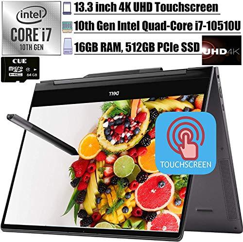 2020 Latest Dell Inspiron 13 7000 2-in-1 Laoptop 13.3' UHD 4K Touchscreen Intel Quad-Core i7-10510U Backlit KB, Fingerprint Thunderbolt 3 Active Pen Win 10 + CUE Accessory (16GB DDR4, 2TB SSD)
