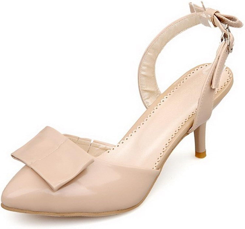 AmoonyFashion Women's PU High-Heels Closed Toe Solid Buckle Heeled-Sandals