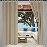LORDTEX Indoor/Outdoor Curtains - Waterproof Tab Top Patio Curtains Sun Blocking Set of 2 Panels Thermal Insulated Curtain for Porch, Pergola, Cabana, Gazebo, 52 x 120 inch, Taupe