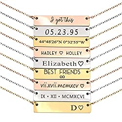 mother's day gift personalized bar necklace