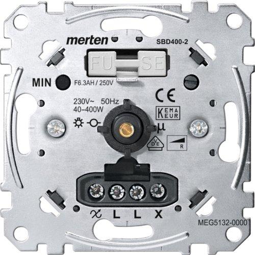 Merten MEG5132-0000 Drehdimmer-Einsatz für ohmsche Last mit Druck-Wechselschalter, 40-400 W