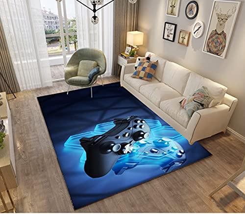 Gamer Alfombras Dormitorio Juvenil Chico Chica Infantiles Niño Juegos 3D Video Alfombras De Habitacion Rectangular Lavables Grandes Pequeñas Alfombras Salon Negro Gris Azul (d,100x150 cm)