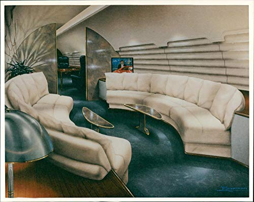 Konferenzraum des Canadair Bombardier Global Express Jets - Vintage Press Photo