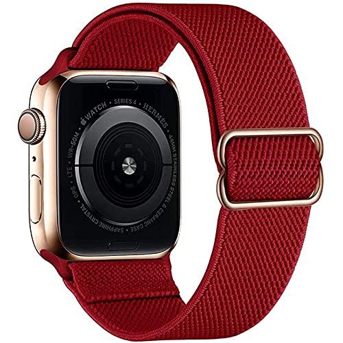 Hspcam Trenzado solo Loop para Apple Watch Band 44mm 40mm 38mm 42mm Ajustable elástico Nylon Loop pulsera para iWatch serie 6 5 4 3 Correa (42mm o 44mm, China rojo)