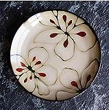 HUACHENG 1 Unids Glaseado al Horno Flores pintadas a Mano Plato de cerámica vajilla Plato Cuadrado Ensalada de Carne Pastel de Frutas Sushi Plato Decorativo de Almacenamiento, H, 21.3cmX2.5cm