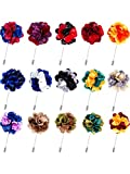 Pangda 15 Pieces Men's Lapel Pin Handmade Satin Flower Boutonniere Pin with Gift Box for Suit Wedding Groom (Multicolor B)