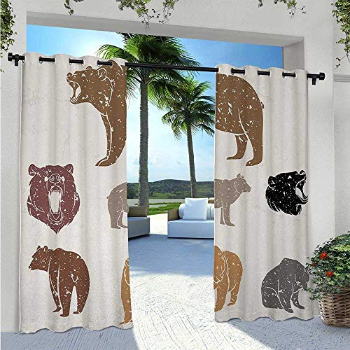Adorise Print Curtains Set of Different Bears with Grunge Design Growling Portraits Silhouettes Retro Style Thermal Insulated, Sun Blocking Blackout Curtains Can Withstand Years of Use W72 x L96 Inch